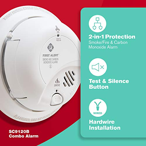 First Alert BRK SC9120B Hardwired Smoke and Carbon Monoxide Alarm with Battery Backup with Home Fire Extinguisher, Red
