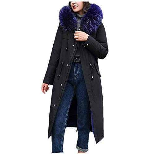 QIQIU Womens Faux Fur Hooded Buttons Pocket Winter Warm Long Solid Loose Plus Size Jackets Coats Outerwear Blue