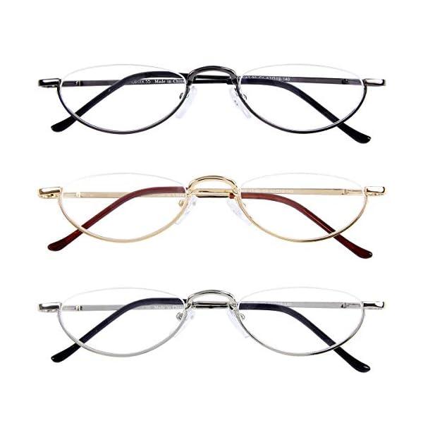 Half Frame Reading Glasses 3 Pack,Semi-Rimless Half Moon Readers For Men – Women