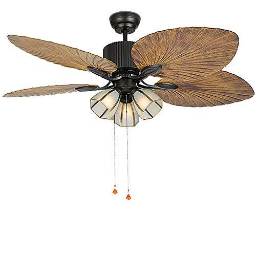 Ventilador de techo de 52 pulgadas con 3 bombillas E27 y 4 hojas de palma.