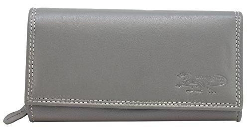 Graue Damen Geldbörse Leder Lang mit viele Kreditkarten (Beidseitig bedienbar) Fächer Frauen Portemonnaie Portmonee Echtleder Geldtasche Brieftasche Franko B22B (Grau)