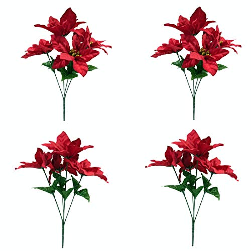 M2cbridge Pack of 4 Christmas Red Poinsettia Bouquet Bushes Floral Picks , Height 13.8'