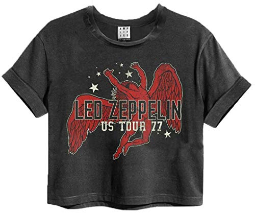 Camiseta Led Zeppelin Icarus Tour 77 Amplified Mujer Charcoal Band Cropped Top