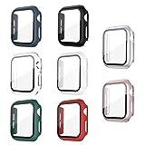 Jvchengxi Funda con Vidrio Templado Compatible con Apple Watch 40mm Series 6/5/4/SE, [8 Piezas] HD Cristal Templado Carcasa Protectora Protector de Pantalla Antiarañazos para iWatch Series 6/5/4/SE