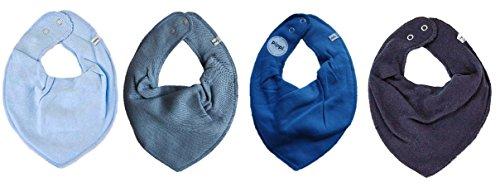 Pippi * Lot de 4 bavoirs triangulaires pour bébé - 4 pièces - Différentes combinaisons de couleurs (gris clair, gris pierre, bleu brillant, bleu foncé).