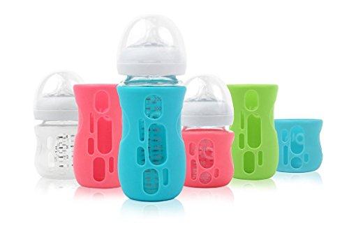 OlaBaby Glasflaschenhülle für AVENT Glasflaschen 240ml - Bruchschutz, Schutzhülle, Silikonhülle (Transparent)