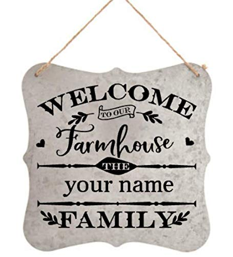 galvanized metal sign with twine hanger Welcome to our home