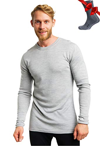 Merino.tech Merino Wool Base Layer - Mens 100% Merino Wool Long Sleeve Midweight Thermal Shirts + Wool Hiking Socks (Medium, 250 Gray Heather)