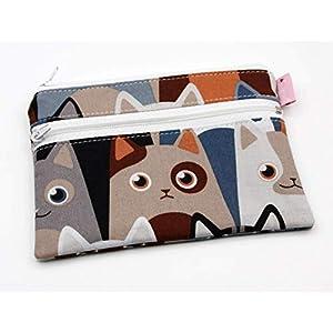 Katzen Mini Portemonnaie mit 2 Reißverschluß Fächern Schwarz Rockabilly Geldbeutel Stoff