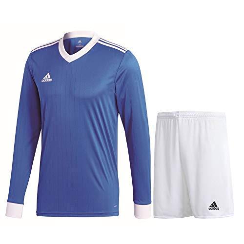 adidas Fußball Tabela 18 Trikotset Langarm Trikot Shorts Trainingsset Herren blau weiß Gr M