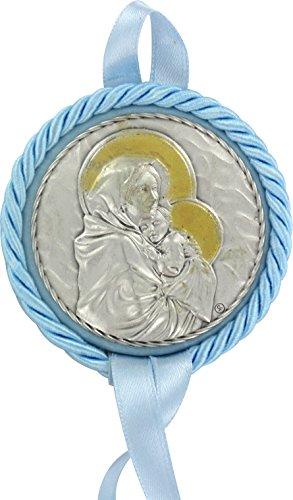 Medalla de Cuna Virgen del Ferruzzi en Metal (Azul) Ø 7 cm
