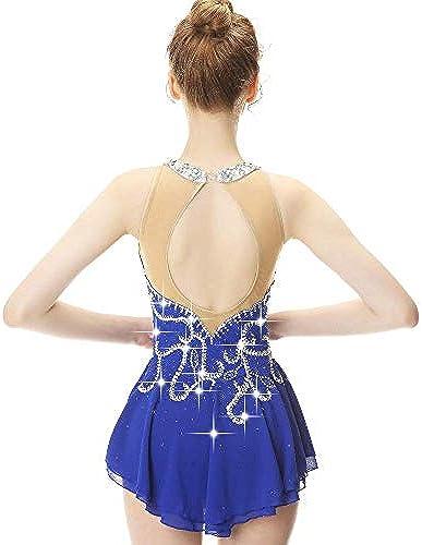 DILIKEXUE Eiskunstlaufkleid für mädchen Frauen Eislaufen Wettbewerb Performance Kostüm Tanzkostüm Kleid Professionelle Stretch Atmungsaktiv,L