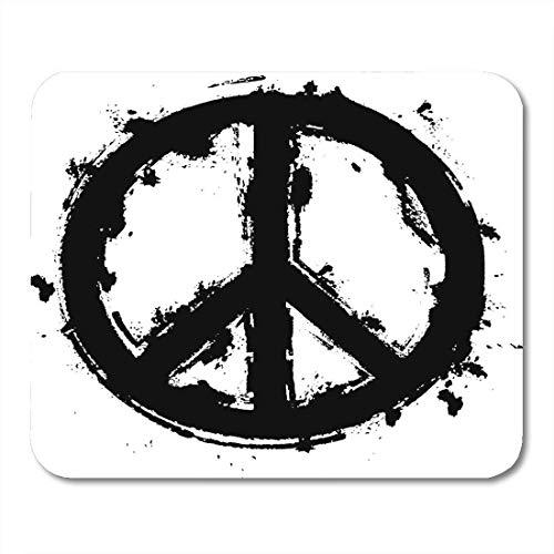 Mauspad zeichnung schwarz farbe frieden symbol pinsel pinselarbeit schmutzig gezeichnetes mauspad für notebooks, Desktop-computer mausmatten, Büromaterial