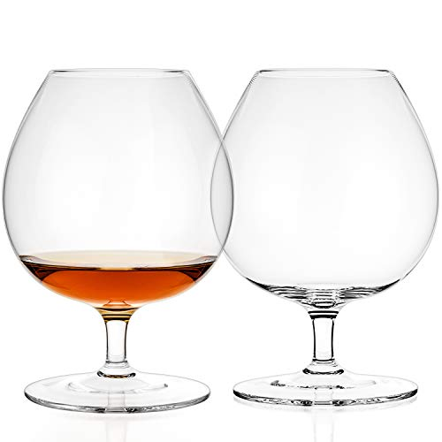 Luxbe - Brandy & Cognac Crystal Glasses Snifter, Set of 2 - Large Handcrafted - Crystal Glass - Bourbon - Wine - 25.5-ounce