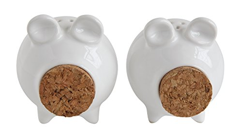 Creative Co-Op White Pig Shaped Stoneware & Cork Salt & Pepper Shakers (Set of 2 Pieces)