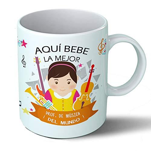 Planetacase Taza Desayuno Aquí Bebe la Mejor Profesora de música del Mundo Regalo Original Profesores Ceramica 330 mL