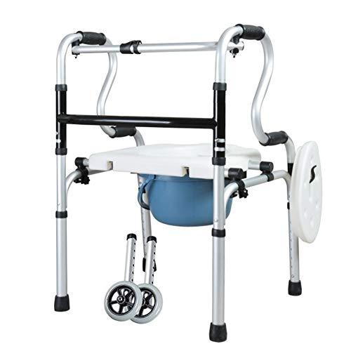Aluminium Transit Mobiele Verrijdbare Commode Stoel Rolstoel Met Wielen Transport Badkamer Toiletbril Handicap Mobiliteitshulp