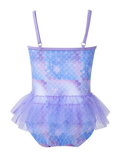 Choomomo Kids Girls Sparkly Mermaid Scales Swimsuits Swimwear Spaghetti Shoulder Straps Tankini Swimming Costumes Lavender 6-7 Years