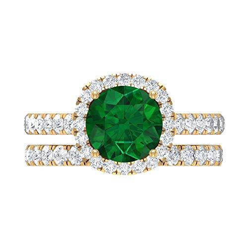 Conjunto de anillos de novia solitario, 3,18 quilates, piedras preciosas redondas, D-VSSI Moissanite 8 mm creado en laboratorio, esmeralda creada en laboratorio, 14K Oro amarillo, Size:EU 61