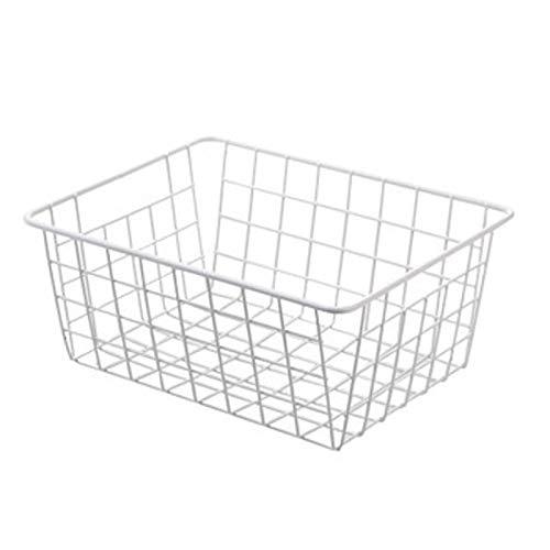 Cesta De Almacenamiento, Pequeña Cesta De Metal Para Baño, Cocina Y Oficina, Organizador De Cocina Apilable Con Asas Para Gabinetes De Cocina,Blanco
