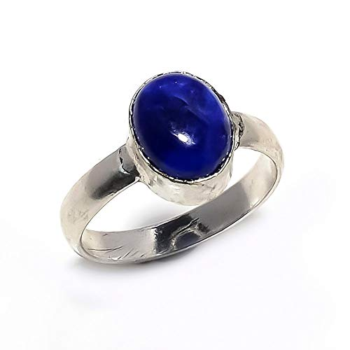 Excelent Gift! Blue Lapis Lazuli Sterling Silver Plated Handmade Jewelery Gram 15 Ring Size-7.25 us