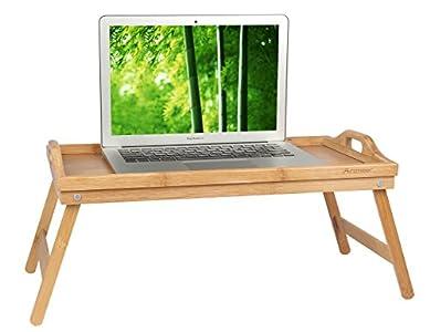artmeer bambú bandeja para la cama con patas, desayuno cama mesa con asa, bandeja de ordenador portátil