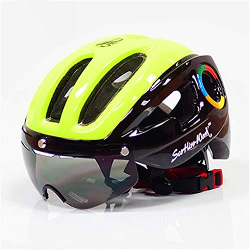 Casco de Bicicleta Ultralight EPS para Hombres MTB MTB Mountain Bike Casco Lentes Gafas Equipo de Ciclismo Green-Black
