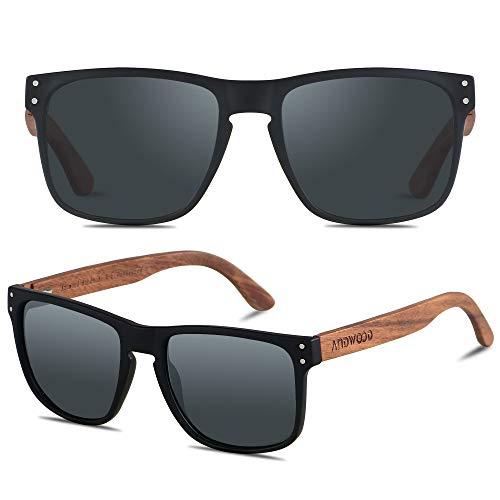 ANDWOOD Mens Sunglasses Polarized UV Protection Wooden Frame Beach Sun...