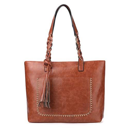 Women Vintage Tote Bag, OURBAG Ladies PU Leather Tote Shoulder Bag Handbag Purse Fashion Large Capacity Bag Brown