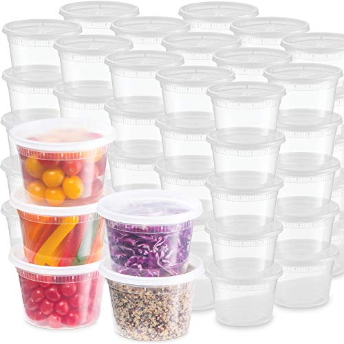 Plastic Deli Food Storage Containers With Leak-Proof Lids 48 Pack, 16 Oz | Microwaveable Airtight Container For Soups, Snacks, Meal Prep, Salad, Ice Cream | BPA-Free Kitchen & Restaurant Supplies (48)