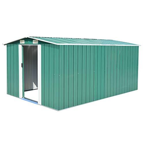 vidaXL Caseta Jardín Metal Galvanizado Verde 257x392x181 cm Almacén Cobertizo