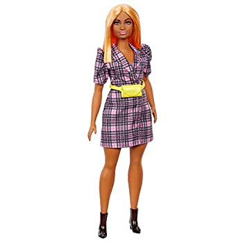 Barbie Fashionistas Doll #161 Curvy with Orange Hair Wearing Pink Plaid Dress Black Boots & Yellow Fanny Pack Toy for Kids 3 to 8 Years Old