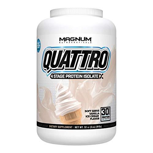 Magnum Nutraceuticals Quattro Protein Powder - 2lbs - Vanilla Ice Cream - Pharmaceutical Grade Protein Isolate - Lactose Free - Gluten Free - Peanut Free
