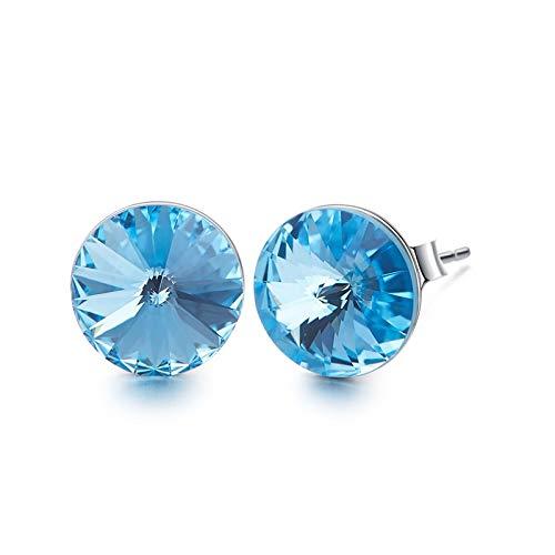 Amody Plata redondo corte pendientes para mujer cristal de Australian pendientes
