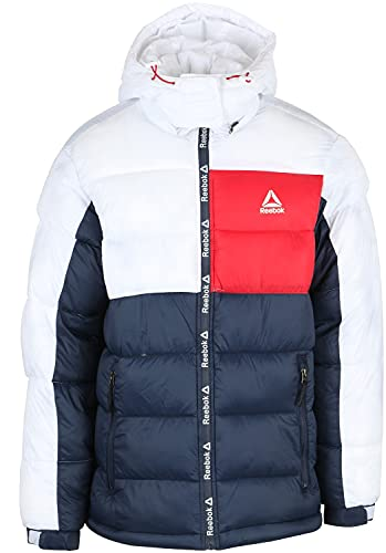 Reebok Men's Heavy Weight Hooded Bubble Jacket, Classic Navy/White/Red, X-Large