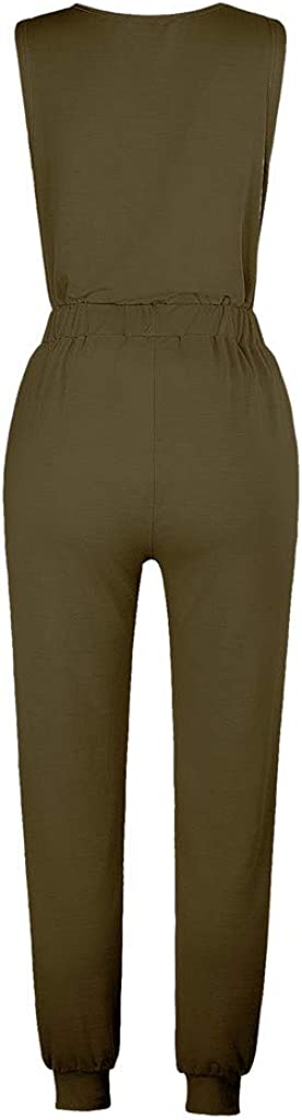 Hessimy Pajama for Women,Womens Sleeveless Jumpsuits Joggers 2 Piece Sweatpants Sweatsuits Nightwear Sleepwear