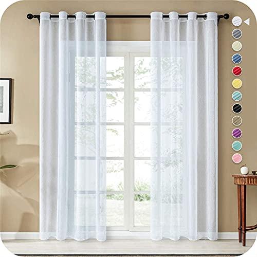 Topfinel Lot de 2 Rideaux Voilage Blanc en Effet Lin - A Oeillets Rideau Decoration Chambre Semi-Transparent pour Salon Rideau Cuisine 140x145cm(Largeur x Hauteur)