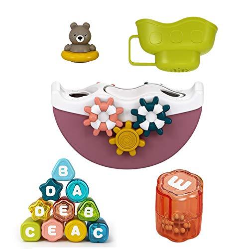 tanbea-ES Juguete de bañera de Juguetes para niños Juego de Juguetes de baño para niños con Taza Juguete Multifuncional de bañera para niños niño y niñas de 6 Meses Benefit