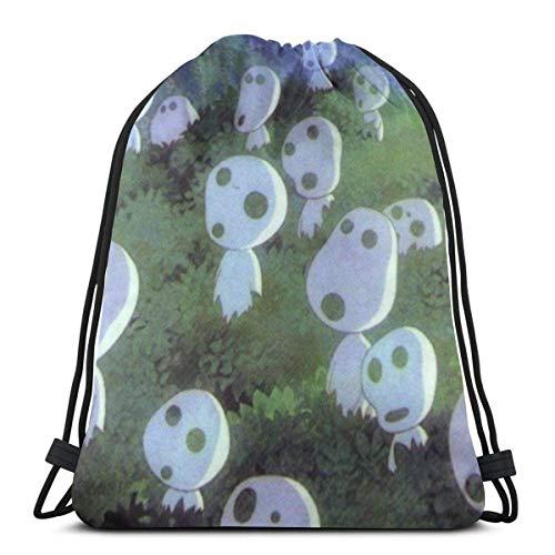 Drawstring Backpack Bags,Princess Mononoke Kodama (3) Sack Drawstring Portable Gym Bag Unisex String Backpack Colorful School Backpack For Men & Women