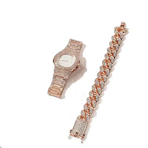 ISMILE 3 Piezas Collar + Reloj + Pulsera Cadena De Hip Hop Color Dorado hacia Fuera Pavimentado Diamantes De Imitación Rapero Hombres Conjunto De Joyas Reloj De Mujer