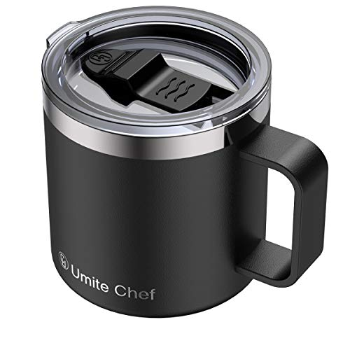 Stainless Steel Insulated Coffee Mug Tumbler with Handle, Umite Chef 14oz Double Wall Vacuum Travel Tumbler Cup with Sliding Lid, Black