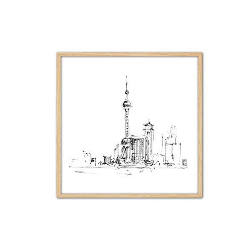 CUADRIMAN Tinta Shanghai Mediano Cuadro, Madera, Blanco y Negro, 62 x 62 cm