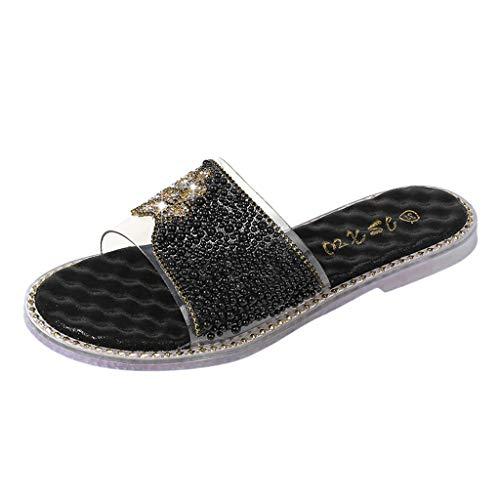 Dorical Damen Comfort Dusch- & Badeschuhe,rutschfest Pantoffeln Gartenschuhe Home Slippers Schuhe Sandaeln für Mutter 36-41 EU(Schwarz,38 EU)