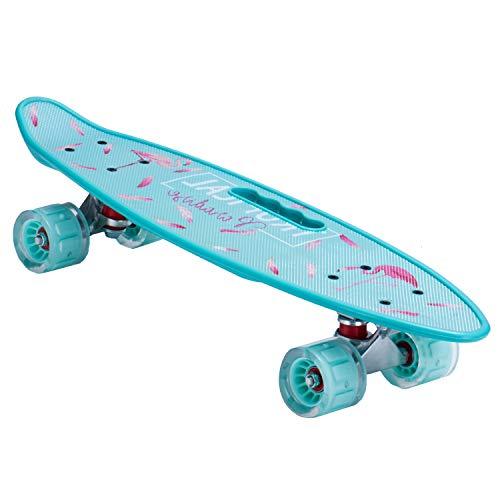 Mini Cruiser Retro Skateboard Komplettboard für Kinder Jugendliche Erwachsene, LED Leuchtrollen mit Tool für Anfänger (Blaue Flamingos)