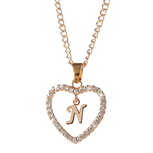 Letter Necklace 26 Letter Zircon Heart Necklace Jewelry Love Necklace Fashion Women Valentine's Day Christmas Ladies Classic, Idea Valentine's for Lover Wife Girlfriend Mother