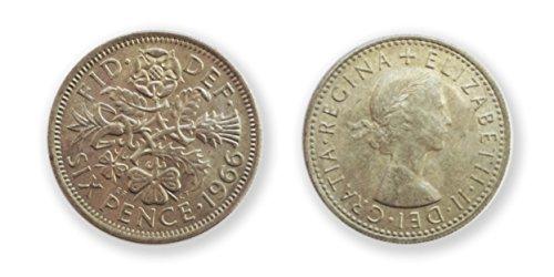 Münzen für Sammler - 1966 seltener Stempelglanz Sixpence 6p - WM-Jahr sechs Pence / British Münzen