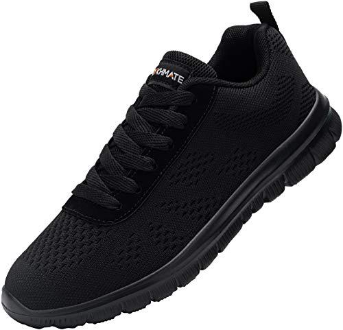 DYKHMATE Męskie buty do biegania po ulicy, przepuszczające powietrze, buty sportowe, antypoślizgowe, sznurowane buty sportowe (czarne, 44 EU)
