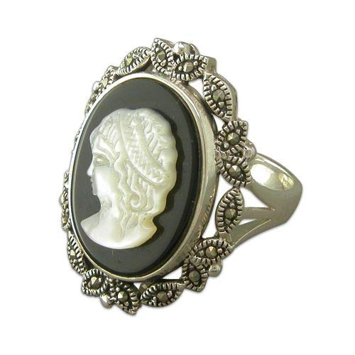 Genuine Sterling Silver Ring Cameo with Marcasite Brand New