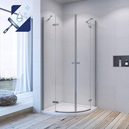 AQUABATOS® Duschkabine Runddusche Rahmenlos 80x80 x 195 cm Duschabtrennung Viertelkreis Duschtür Scharniertür mit Nano Beschichtung aus 6mm ESG Glas