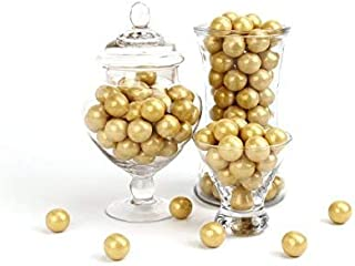 CELEBRATION BY FREY: Shimmer Gold Gumballs – Gluten Free, Kosher & Halal – 2 lbs bag (120 pieces) – Perfect for decoration, weddings, retirements, birthdays, candy buffets, party favors & centerpieces